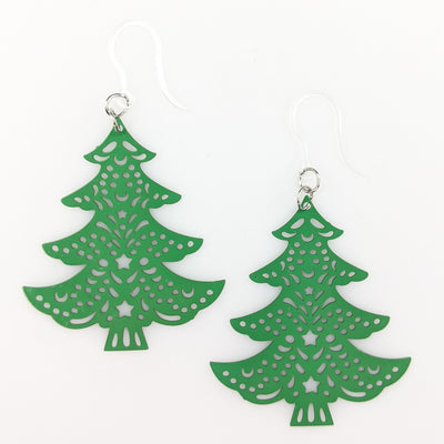 Large Christmas Tree Earrings (Dangles) - green