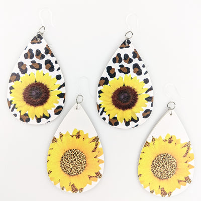 Leopard Sunflower Earrings (Teardrop Dangles) - all styles
