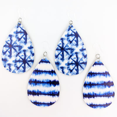 Blue Tie Dye Earrings (Teardrop Dangles) - all styles