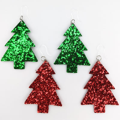 Glitter Christmas Tree Earrings (Dangles) - all colors