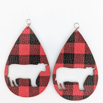 Plaid Cow Earrings (Teardrop Dangles)