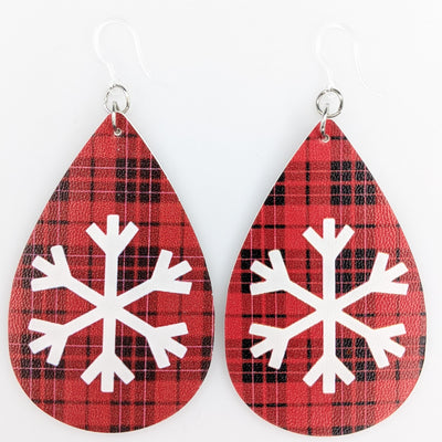 Plaid Snowflake Earrings (Teardrop Dangles)