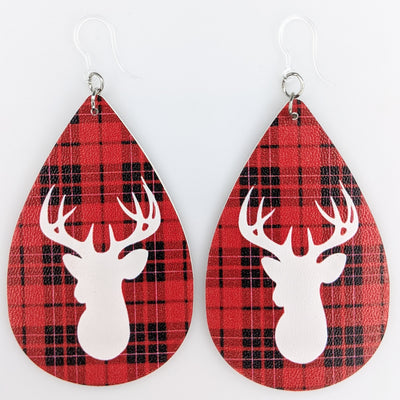 Plaid Deer Earrings (Teardrop Dangles)