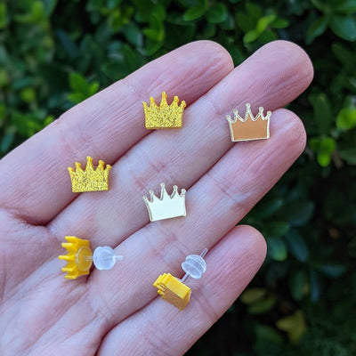 Golden Crown Earrings (Studs) - all colors