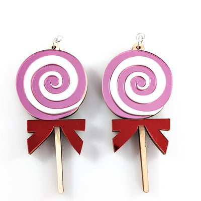 Exaggerated Wooden Lollipop Earrings (Dangles)