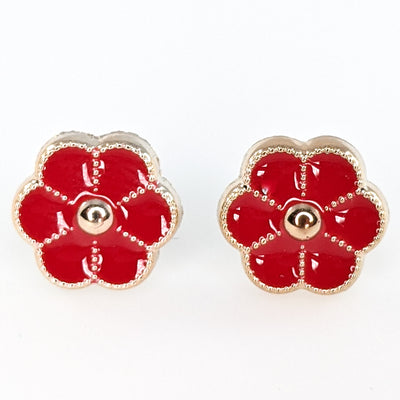 Gold Rimmed Button Flower Earrings (Studs)