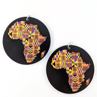Exaggerated Wooden Africa Fabric Earrings (Dangles)
