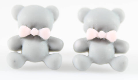 Bear Earrings (Studs) - grey bear with pink bowtie