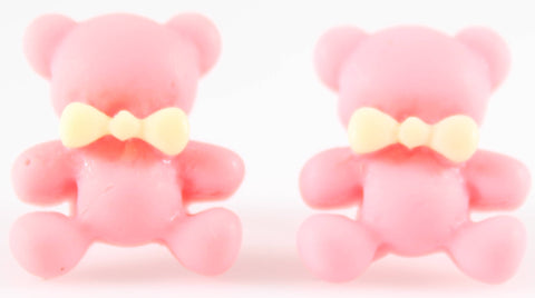 Bear Earrings (Studs) - baby pink bear with yellow bowtie