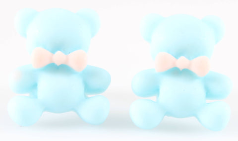 Bear Earrings (Studs) - baby blue bear with pink bowtie