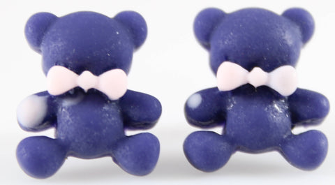 Bear Earrings (Studs) - blue bear with pink bowtie
