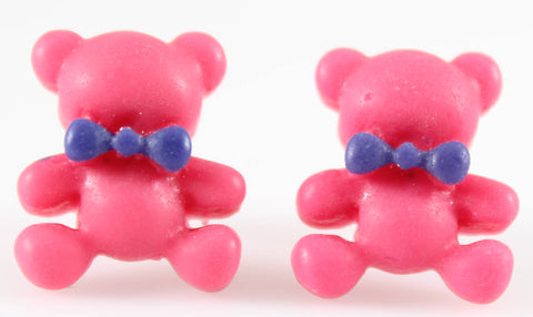 Bear Earrings (Studs) - hot pink bear with blue bowtie
