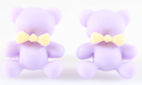 Bear Earrings (Studs) - lavender bear with yellow bowtie