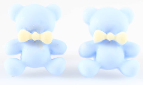 Bear Earrings (Studs) - baby blue bear with yellow bowtie