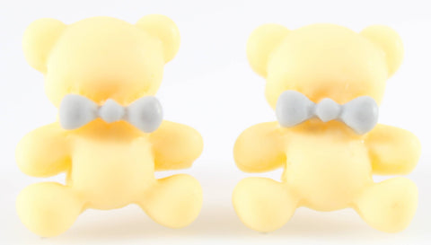 Bear Earrings (Studs) - yellow bear with grey bowtie