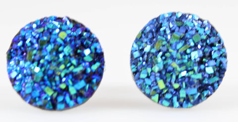 Large Faux Druzy Earrings (Studs) - blue