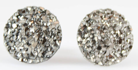 Large Faux Druzy Earrings (Studs) - gunmetal
