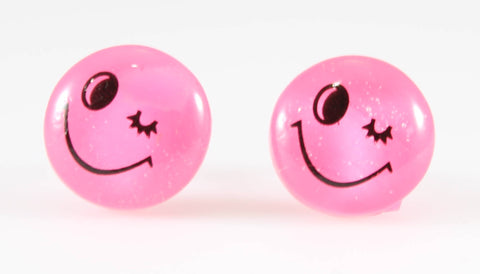 Emoji Earrings (Studs) - pink winky face