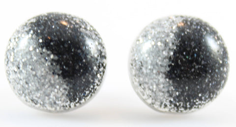 Glitter Button Earrings (Studs) - black and silver
