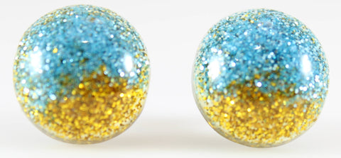 Glitter Button Earrings (Studs) - blue and gold