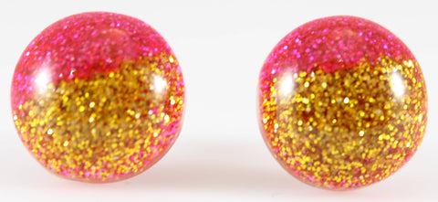 Glitter Button Earrings (Studs) - hot pink and gold