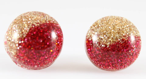 Glitter Button Earrings (Studs) - red and gold