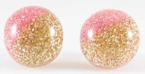 Glitter Button Earrings (Studs) - light pink and gold