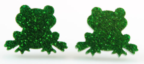 Frog Earrings (Studs) - green glitter