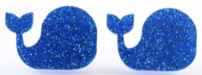 Whale Earrings (Studs) - blue glitter