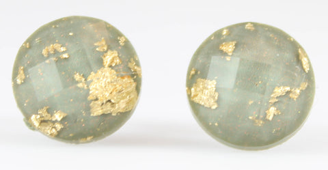 Gold Fleck Disco Button Earrings (Studs) - grey