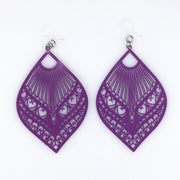 Large Peacock Earrings (Dangles) - purple