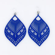 xLarge Peacock Earrings (Dangles) - royal blue