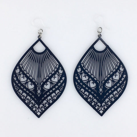 Large Peacock Earrings (Dangles) - navy