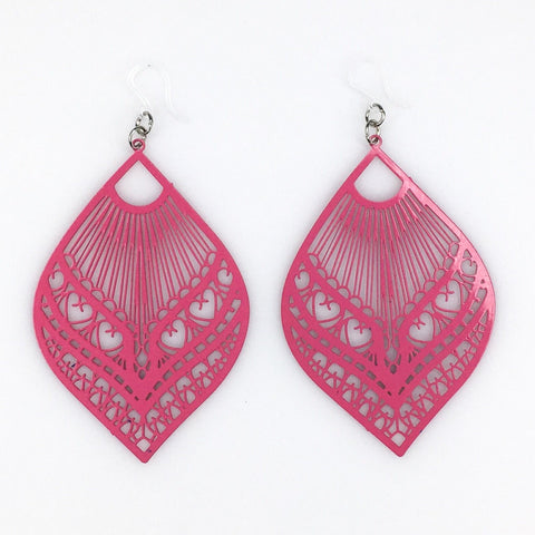 Large Peacock Earrings (Dangles) - pink