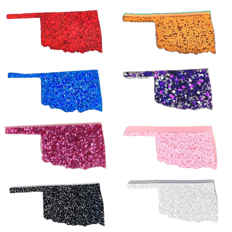 Glitter Oklahoma Earrings (Studs) - magenta