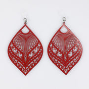 Large Peacock Earrings (Dangles) - red