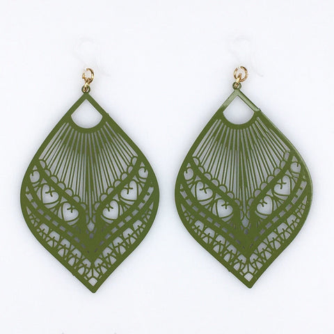 Large Peacock Earrings (Dangles) - olive