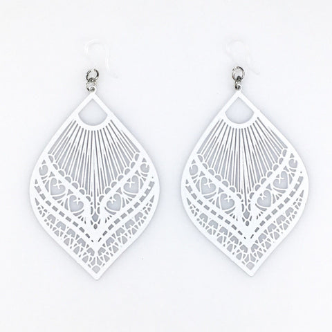 Large Peacock Earrings (Dangles) - white