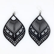 Large Peacock Earrings (Dangles) - black