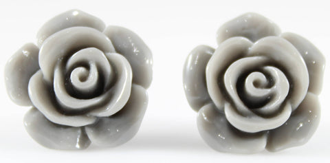 Large Shiny Rose Earrings (Studs) - grey