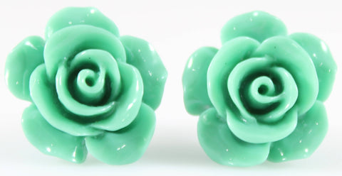 Large Shiny Rose Earrings (Studs) - green