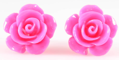 Large Shiny Rose Earrings (Studs) - hot pink