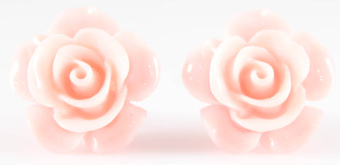 Large Shiny Rose Earrings (Studs) - lighter pink