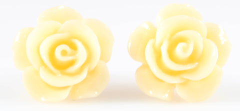 Large Shiny Rose Earrings (Studs) - light peach