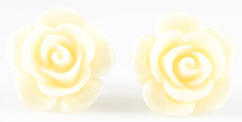 Large Shiny Rose Earrings (Studs) - off white