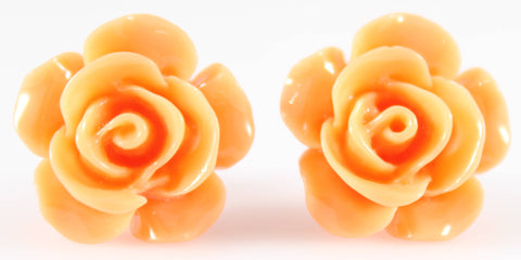 Large Shiny Rose Earrings