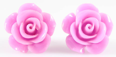 Large Shiny Rose Earrings (Studs) - orchid