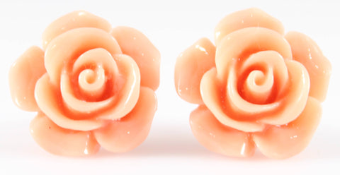 Large Shiny Rose Earrings (Studs) - peach