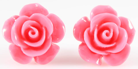 Large Shiny Rose Earrings (Studs) - pink