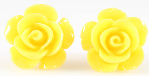 Large Shiny Rose Earrings (Studs) - yellow